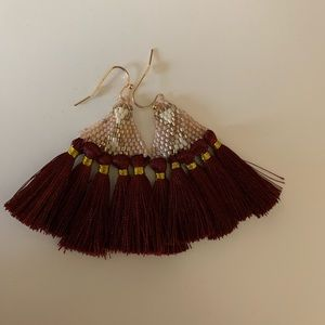 NEVER WORN Adorable soft gold & maroon earrings!!